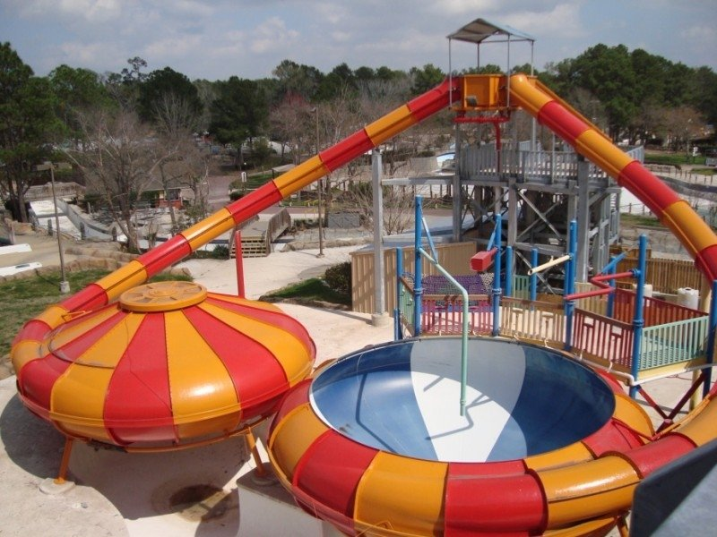 Two water slide rides next to eachother.