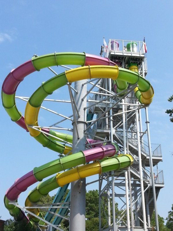 Two winding water slides next to each other.