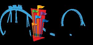 Six Flags logo black text