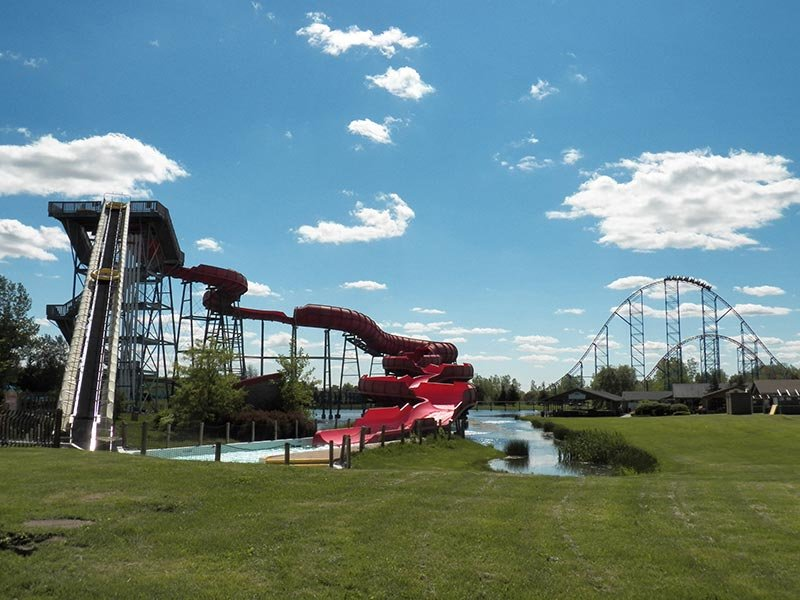 Photo of big red water slide.