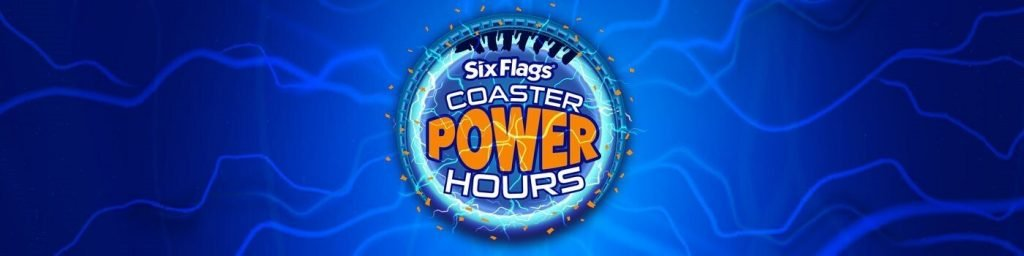 Six Flags Coaster Power Hours Logo in front of lightning background