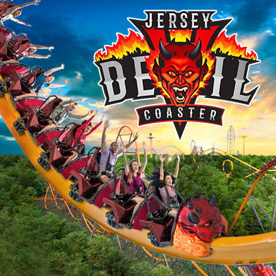 Jersey Devil Coaster logo with guests riding coaster