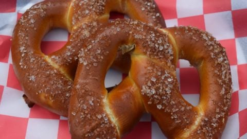 Two fresh baked pretzels at Six Flags