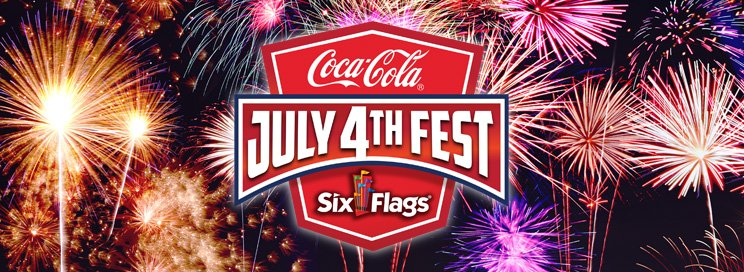 Coca-cola Six Flags July 4th Fest logo with fireworks