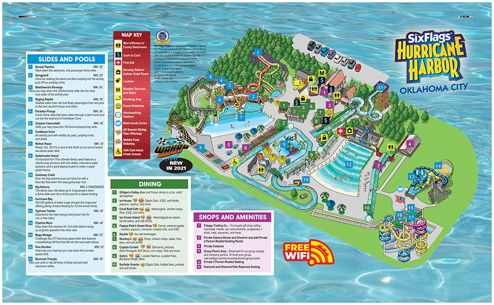 Park map and directory of Hurricane Harbor OKC