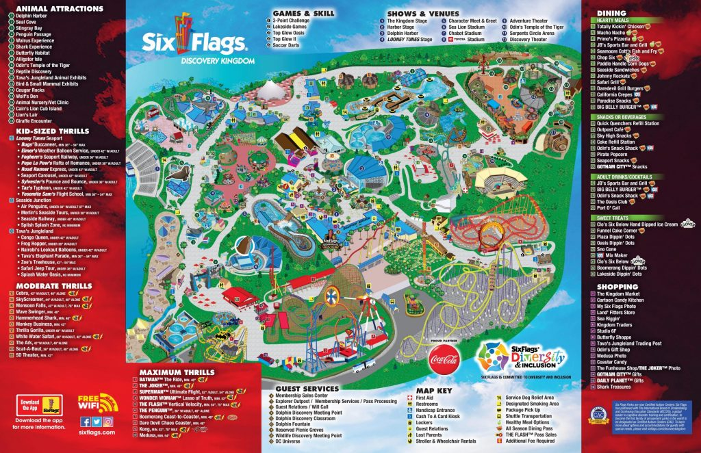 Map of Six Flags DIscovery Kingdom May 2021