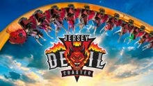 Jersey Devil Coaster logo with image of guests upside down on a coaster loop