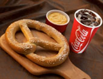 Six Flags Dining Meal Options Large Pretzel and Coca-Cola Soda