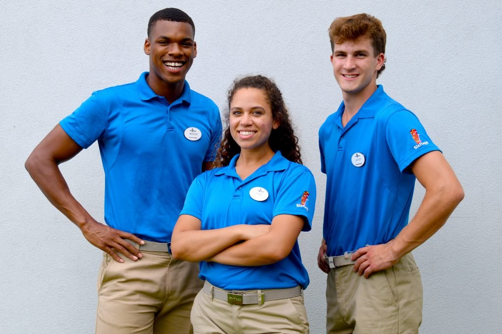 six flags employees in uniform